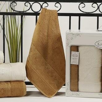 Набор полотенец банных в подарочной упаковке 50*90(2), 90*150(2) Karna PANDORA махра бамбук (кремовый+горчичный)