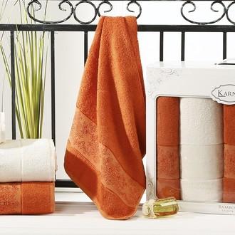 Набор полотенец банных в подарочной упаковке 50*90(2), 70*140(2) Karna PANDORA махра бамбук (кремовый+кирпичный)