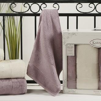 Набор полотенец банных в подарочной упаковке 50*90(2), 90*150(2) Karna PANDORA махра бамбук (кремовый+светло-лавандовый)