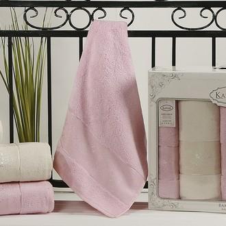 Набор полотенец банных в подарочной упаковке 50*90(2), 90*150(2) Karna PANDORA махра бамбук (кремовый+светло-розовый)