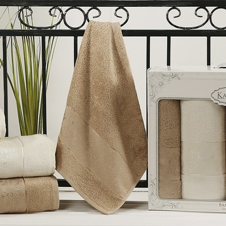 Набор полотенец банных в подарочной упаковке 50*90(2), 90*150(2) Karna PANDORA махра бамбук (кремовый+кофейный)