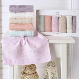 Набор полотенец кухонных в подарочной упаковке 30*50 6 шт. Karna PANDORA махра бамбук V1