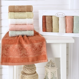Набор полотенец кухонных в подарочной упаковке 30*50 6 шт. Karna PANDORA махра бамбук V2