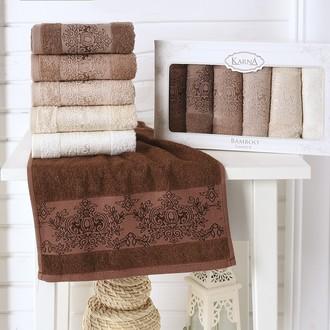Набор полотенец кухонных в подарочной упаковке 30*50(6) Karna PANDORA махра бамбук (V3)