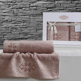 Набор полотенец банных в подарочной упаковке 50*90, 70*140 Karna GALATA махра хлопок (грязно-розовый)