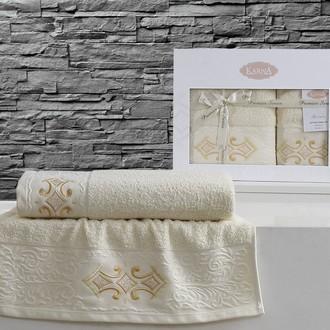Набор полотенец банных в подарочной упаковке 50*90, 70*140 Karna GALATA махра хлопок (светло-жёлтый)