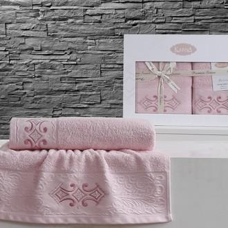 Набор полотенец банных в подарочной упаковке 50*90, 70*140 Karna GALATA махра хлопок (розовый)