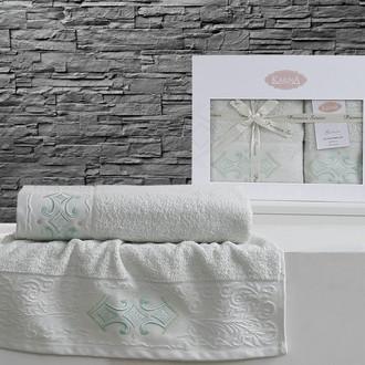 Набор полотенец банных в подарочной упаковке 50*90, 70*140 Karna GALATA махра хлопок (светло-зелёный)