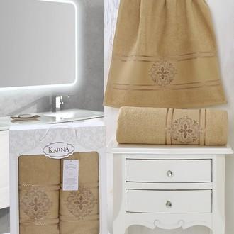 Набор полотенец банных в подарочной упаковке 50*90, 70*140 Karna SEHER махра хлопок (горчичный)