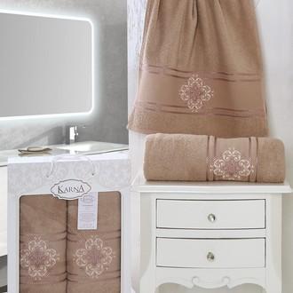Набор полотенец банных в подарочной упаковке 50*90, 70*140 Karna SEHER махра хлопок (грязно-розовый)