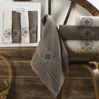 Набор полотенец банных в подарочной упаковке 50*90(2), 70*140(2) Karna SEHER махра хлопок (стоне)