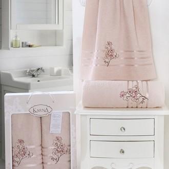 Набор полотенец банных в подарочной упаковке 50*90, 70*140 Karna PAPILON махра хлопок (светло-абрикосовый)
