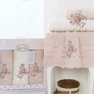 Набор полотенец банных в подарочной упаковке 50*90(2), 70*140 Karna PAPILON махра хлопок (светло-абрикосовый)
