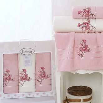 Набор полотенец банных в подарочной упаковке 50*90(2), 70*140 Karna PAPILON махра хлопок (светло-розовый)