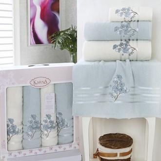 Набор полотенец банных в подарочной упаковке 50*90(2), 70*140(2) Karna PAPILON махра хлопок (ментол)