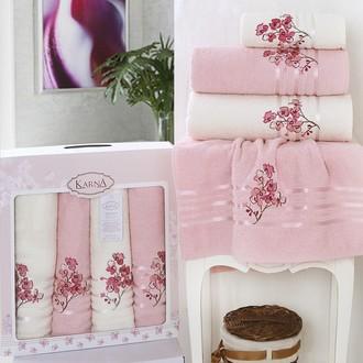Набор полотенец банных в подарочной упаковке 50*90(2), 70*140(2) Karna PAPILON махра хлопок (светло-розовый)