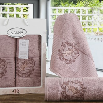 Набор полотенец банных в подарочной упаковке 50*90, 70*140 Karna CLARIS махра хлопок (грязно-розовый)