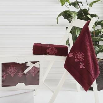 Набор полотенец банных в подарочной упаковке 50*90, 70*140 Karna VICTORY махра хлопок (бордовый)