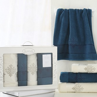 Набор полотенец банных в подарочной упаковке 50*90(2), 70*140(2) Karna VICTORY махра хлопок (нефть)