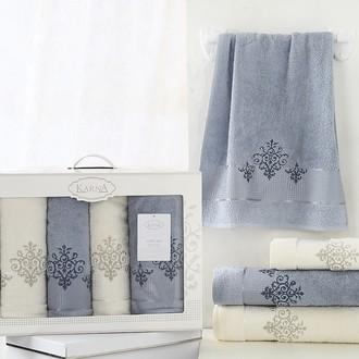 Набор полотенец банных в подарочной упаковке 50*90(2), 70*140(2) Karna VICTORY махра хлопок (синий)