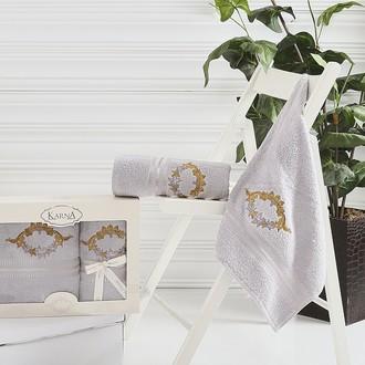 Набор полотенец банных в подарочной упаковке 50*90, 70*140 Karna KAREN махра хлопок (серый)
