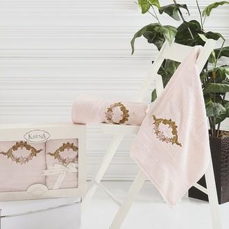 Набор полотенец банных в подарочной упаковке 50*90, 70*140 Karna KAREN махра хлопок (светло-абрикосовый)