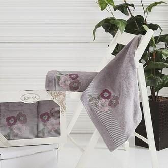 Набор полотенец банных в подарочной упаковке 50*90, 70*140 Karna SANDY махра хлопок (тёмно-серый)