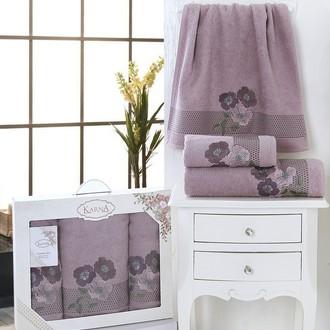 Набор полотенец банных в подарочной упаковке 50*90(2), 70*140 Karna SANDY махра хлопок (светло-лавандовый)