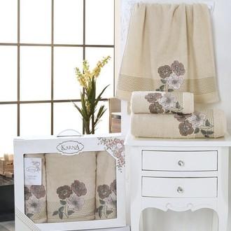 Набор полотенец банных в подарочной упаковке 50*90(2), 70*140 Karna SANDY махра хлопок (бежевый)
