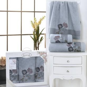 Набор полотенец банных в подарочной упаковке 50*90(2), 70*140 Karna SANDY махра хлопок (тёмно-серый)
