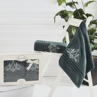 Набор полотенец банных в подарочной упаковке 50*90, 70*140 Karna AGRA махра хлопок (тёмно-зелёный)