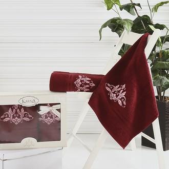 Набор полотенец банных в подарочной упаковке 50*90, 70*140 Karna AGRA махра хлопок (бордовый)