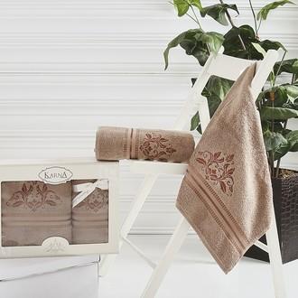 Набор полотенец банных в подарочной упаковке 50*90, 70*140 Karna AGRA махра хлопок (коричневый)