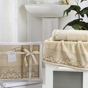 Набор полотенец банных в подарочной упаковке 50х90, 70х140 Karna BEYZA махра хлопок бежевый