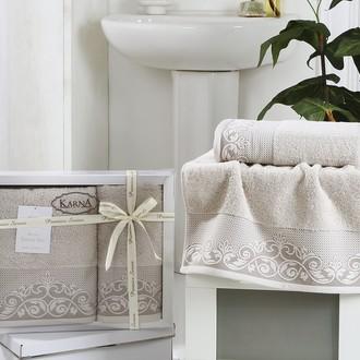 Набор полотенец банных в подарочной упаковке 50*90, 70*140 Karna BEYZA махра хлопок стоне