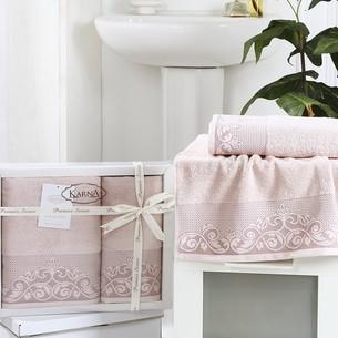 Набор полотенец банных в подарочной упаковке 50х90, 70х140 Karna BEYZA махра хлопок пудра