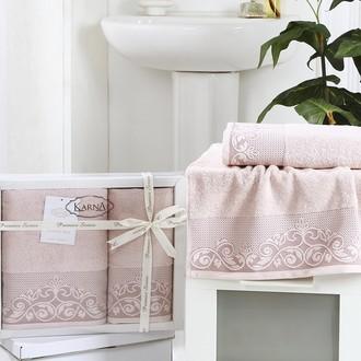 Набор полотенец банных в подарочной упаковке 50*90, 70*140 Karna BEYZA махра хлопок пудра