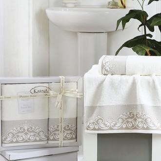 Набор полотенец банных в подарочной упаковке 50*90, 70*140 Karna BEYZA махра хлопок кремовый