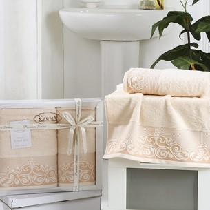 Набор полотенец банных в подарочной упаковке 50х90, 70х140 Karna BEYZA махра хлопок светло-абрикосовый