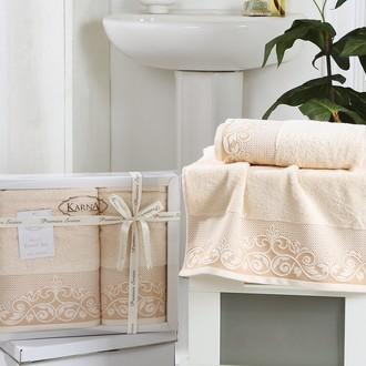 Набор полотенец банных в подарочной упаковке 50*90, 70*140 Karna BEYZA махра хлопок светло-абрикосовый