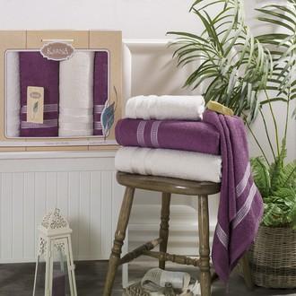 Набор полотенец банных в подарочной упаковке 50*100(2), 100*150(2) Karna PETEK махра хлопок (кремовый+светло-лавандовый)