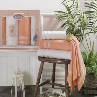 Набор полотенец банных в подарочной упаковке 50*100(2), 100*150(2) Karna PETEK махра хлопок (кремовый+абрикосовый)