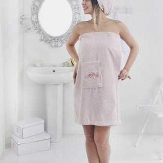 Набор для сауны женский Karna PERA махра хлопок розовый