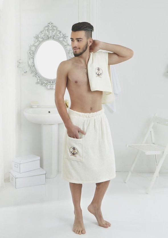 Набор для сауны мужской Karna PAMIR махра хлопок (кремовый), фото, фотография