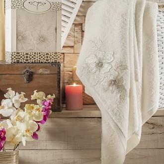 Полотенце банное в подарочной упаковке Irya PEARLY махра хлопок (молочный)