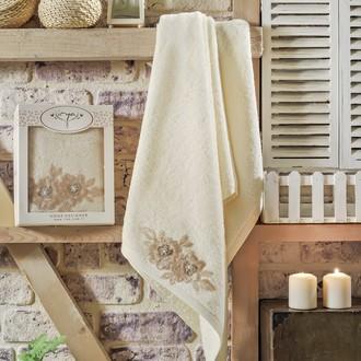 Полотенце банное в подарочной упаковке Irya ROMANTIC махра хлопок (кремовый)