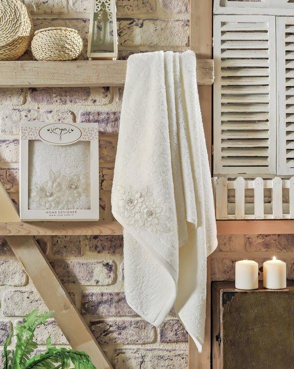 Полотенце банное в подарочной упаковке Irya ROMANTIC махра хлопок молочный 85*150, фото, фотография