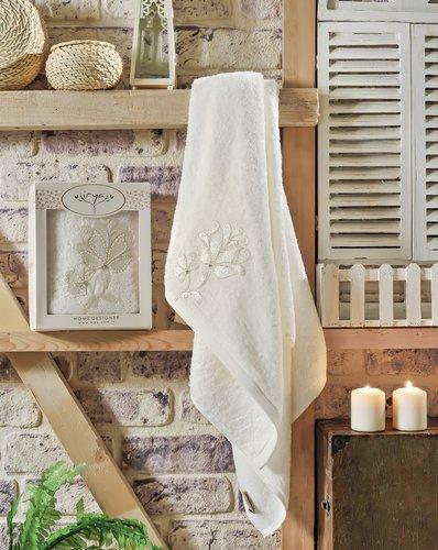 Полотенце банное в подарочной упаковке Irya SENSES махра хлопок молочный 70х130, фото, фотография