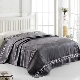 Махровая простынь-покрывало-одеяло Pupilla STONES махра+велюр хлопок серый