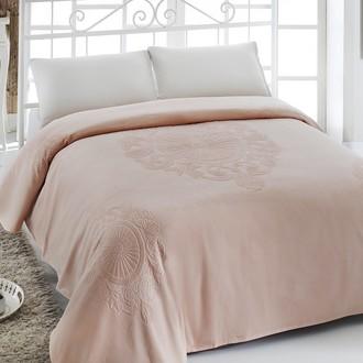 Махровая простынь-покрывало-одеяло Pupilla EFTALYA махра+велюр хлопок светло-абрикосовый